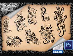 漂亮的艺术鲜花花纹图案Photoshop笔刷免费下载
