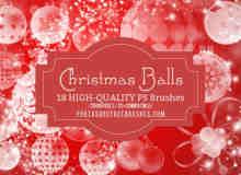 18个圣诞彩球装饰PS笔刷素材下载