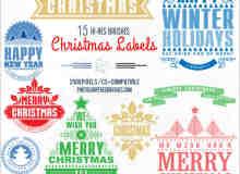 15种不同的圣诞节徽章图案标志PS笔刷下载