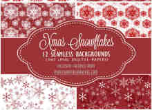 12种圣诞节雪花图案背景装饰Photoshop填充素材