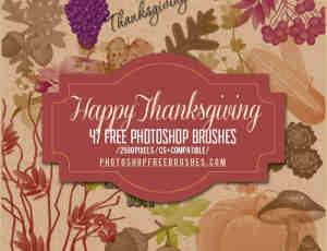 47个免费的感恩在秋天的收获元素PS笔刷下载