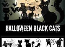 15种万圣节卡通黑猫PS笔刷下载