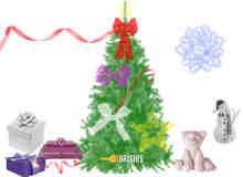 圣诞节元素饰品PS免费素材下载