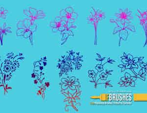 漂亮的植物鲜花图案、印花纹饰Photoshop笔刷素材