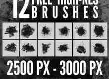 12个高分辨率喷溅、飞溅Photoshop水墨油漆笔刷
