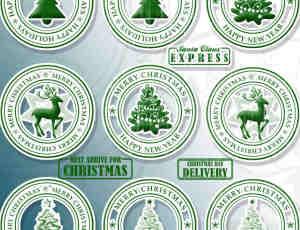 圣诞节图章、徽章、贺卡卡片邮戳PS笔刷下载