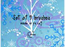 圣诞节雪花花纹、圣诞纹饰图案Photoshop装饰笔刷