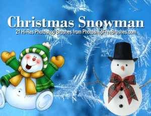 21个圣诞节雪人造型Photoshop笔刷下载