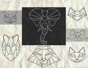 折纸式线框动物轮廓Photoshop笔刷图形素材