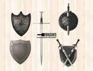 欧式剑盾图形PS笔刷下载