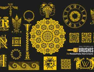 优雅复古的欧式花纹图案PS笔刷下载