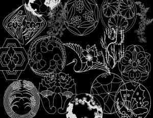 手绘日本风格花纹、日系装饰图案PS笔刷下载