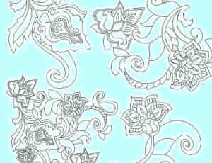 漂亮的手绘线框花朵、鲜花图案PS笔刷下载