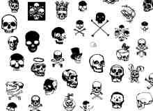 骷髅头图案、涂鸦头颅PS笔刷下载