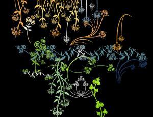 漂亮的手绘式植物花纹图案、枝条纹饰、柳条图案Photoshop笔刷