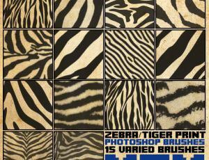 豹纹、虎纹、斑马纹等动物皮毛纹理Photoshop笔刷素材