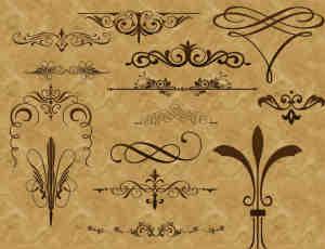 复古式欧洲贵族花纹图案PS笔刷下载