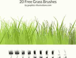 20种免费的青草、小草、草丛Photoshop笔刷下载