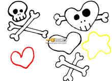 可爱骷髅头、骨头、爱心PS呆萌笔刷