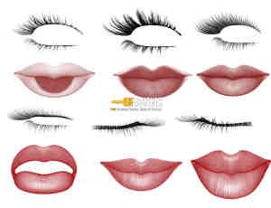 女性睫毛与性感红唇、嘴唇PS笔刷下载