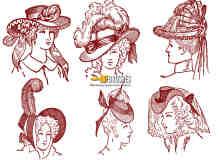 欧洲中世纪妇女头像版刻图案PS笔刷下载