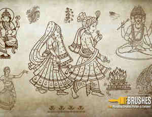 印度佛教图案、佛像、菩萨Photoshop宗教笔刷下载