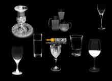 酒杯、透明玻璃杯、水杯、杯子、啤酒杯PS笔刷素材