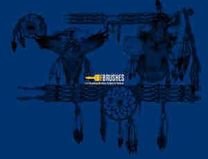 美国印第安人装饰品、头饰图案PS笔刷下载