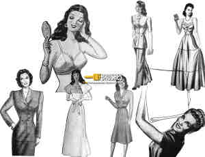 复古欧美时髦女郎、女性图案Photoshop笔刷下载