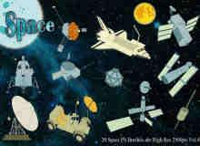 航天飞机、卫星、月球车等PS高清笔刷素材下载