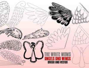 手绘式涂鸦羽毛翅膀、天使羽翼Photoshop笔刷下载