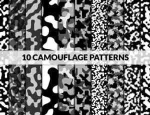 10种伪装迷彩纹理、背景底纹PS填充素材下载