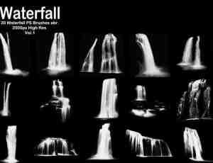 20种高清瀑布、落水效果Photoshop笔刷下载