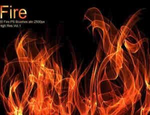 20种高清火焰、火苗燃烧效果PS笔刷火焰套装下载