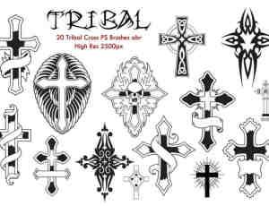 花式十字架、刺青十字架纹饰图案Photoshop笔刷