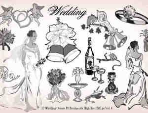 20种婚礼元素装扮图形PS笔刷下载
