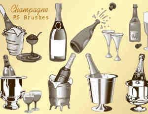 20种香槟酒瓶、酒杯与葡萄酒瓶子造型Photoshop素材笔刷