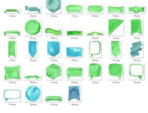 水彩、水墨涂鸦气泡框、标签、对话框、横幅图案PS笔刷素材下载