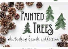 10种手绘水彩、水墨松树效果PS笔刷下载