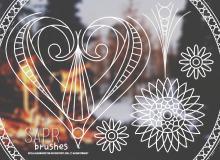手绘小清新花纹、纹饰图案Photoshop笔刷下载