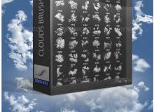 超高品质白云、高空云朵、云层效果Photoshop云彩笔刷