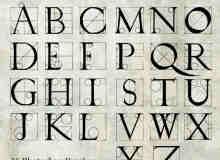 手绘西式字母表PS英文字母笔刷