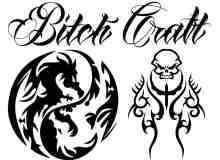 酷炫龙纹身、骷髅头纹饰刺青图案PS笔刷下载