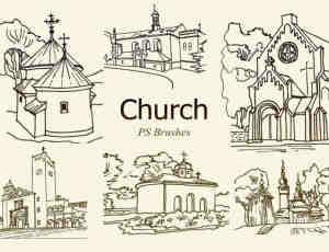 20种手绘线框样式教堂房子造型PS笔刷下载