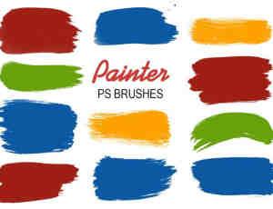 20种油漆刷子涂痕笔迹PS笔刷下载