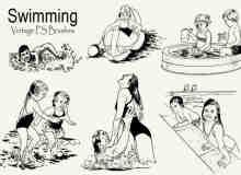 20种戏水、游泳、玩水剪贴画图形PS笔刷下载