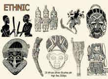 20种非洲原始部落装饰图腾PS笔刷下载