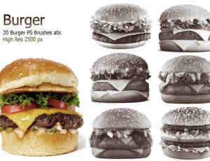 20种高清汉堡包食物素材Photoshop快餐笔刷