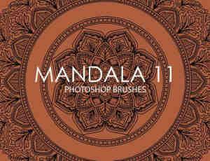 又一组经典的手绘曼陀罗、曼荼罗植物印花图案PS笔刷下载