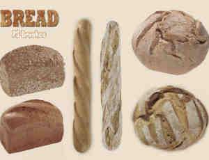 20种烤面包、长棍面包Photoshop食物笔刷
